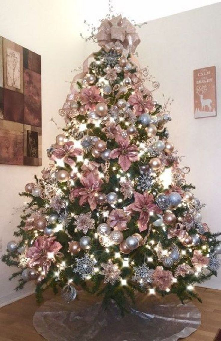 30 Fascinating Christmas Tree Ideas To Give Your Home A Festive Look Rose Gold Christmas Tree Rose Gold Christmas Decorations Rose Gold Christmas