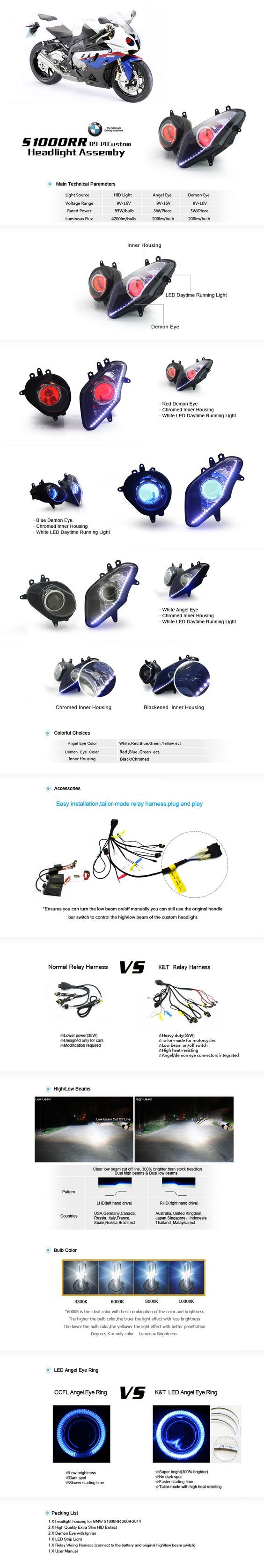 BMW S1000RR HID Projectors Headlight Assemlby 2009-2014