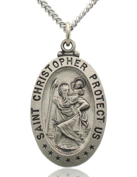 Oval Saint Christopher Necklace in Solid Sterling Silver Protect Us
