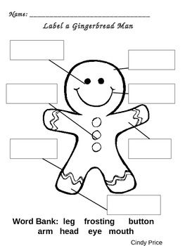 Here is a free labeling sheet to complete with your unit on the gingerbread man!