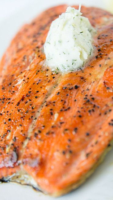 Pan Seared Salmon with Dill Butter - http://www.tasteslovely.com/pan-seared-salmon-with-dill-butter/