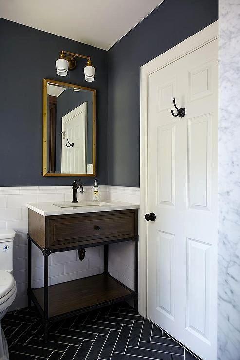 19 Blue And Grey Bathroom Decor In 2020 With Images Dark Blue Bathrooms Herringbone Tile Floors Painting Bathroom