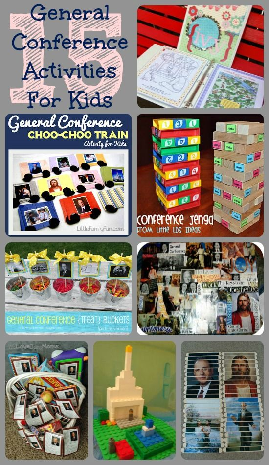 A Little Tipsy: 15 LDS General Conference Activities for Kids.  Liked the choo choo train and dry erase quiet books.  #12 had great packets for Nursery age and Junior Primary age kids.