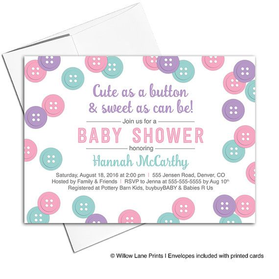 cute as a button baby shower invitation for girls pink purple mint baby shower invites