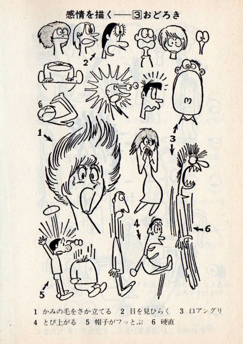 "Osamu Tezuka (手塚治虫) drawings of expressions, cartooning tips, showing how to animate & capture emotions with body language too. You can find more in the ""マンガの描き方―似顔絵から長編まで"" Artbook, published in 1996."