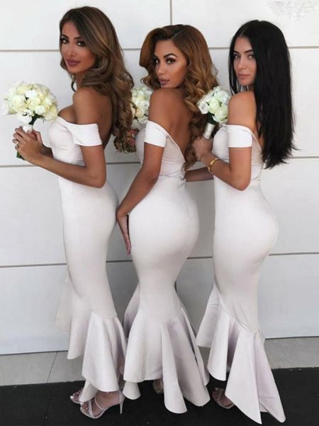 Mermaid Off Shoulder White Satin Long Bridesmaid Dresses,VPWG294