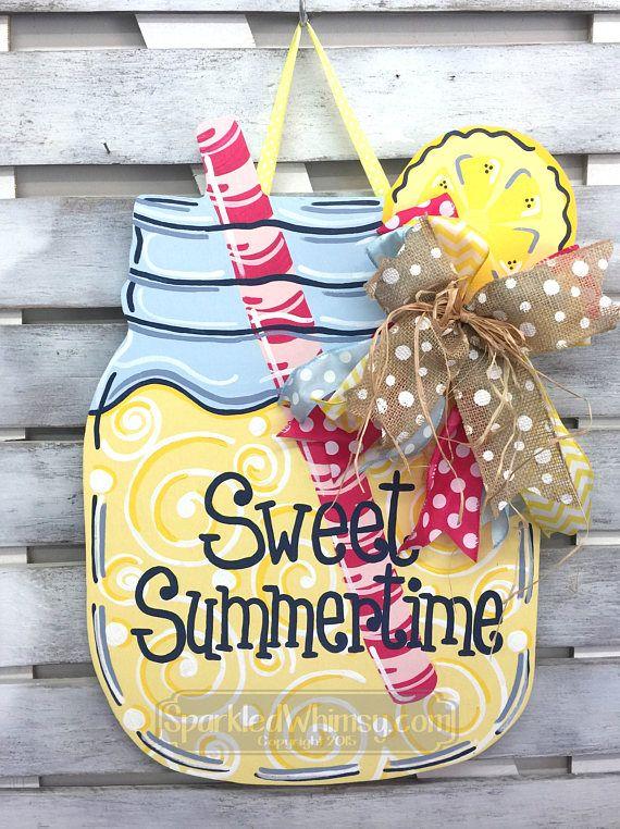 Summer Door Decor: Mason Jar Lemonade Door Hanger Seasonal