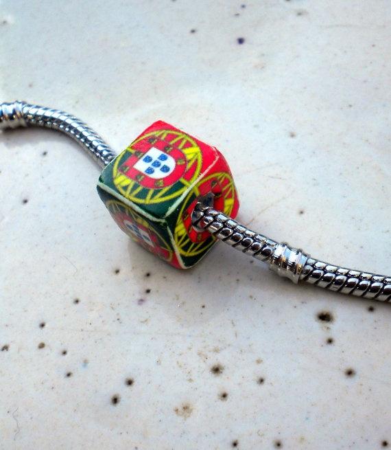 Portugal  Flag Pandora Style Cube Pendant by Atrio on Etsy,
