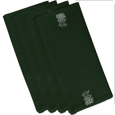 "The Holiday Aisle Santa Baby Holiday Print Napkin Size: 19"" W x 19"" L, Color: Dark Green"