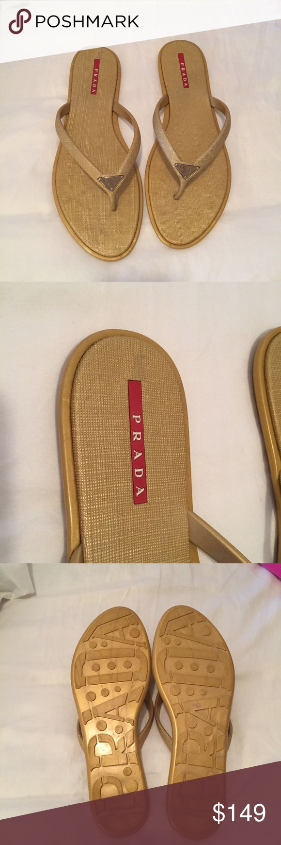 Prada gold/tan sandals size 10 100% authentic rubber Prada flip flops. Great condition, small wear area above red label, see second photo, barely noticeable. Perfect for the beach or pool. Prada Shoes Sandals