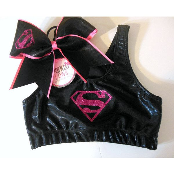 Hot Pink Superman Metallic Sports Bra and Bow Set Cheerleading (52 CAD) ❤ liked on Polyvore featuring activewear, sports bras, black, women's clothing, metallic sports bra, black sports bra, hot pink sports bra and athletic sportswear