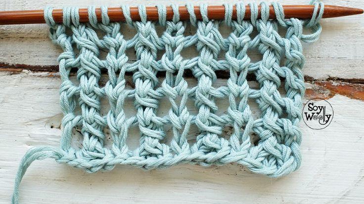 Punto Calado Vertical en dos vueltas (tricot, dos agujas, calceta)