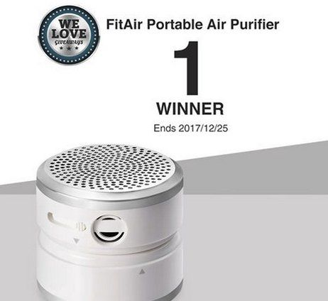 Win a $100.00 FitAir Portable Air Purifier with True HEPA Filter for Allergen, Dust, Pet, Odor, Smoke, Mold, USB Mini Air Purifier for Small Room, Travel, Desktop, Car, Camping and kids.