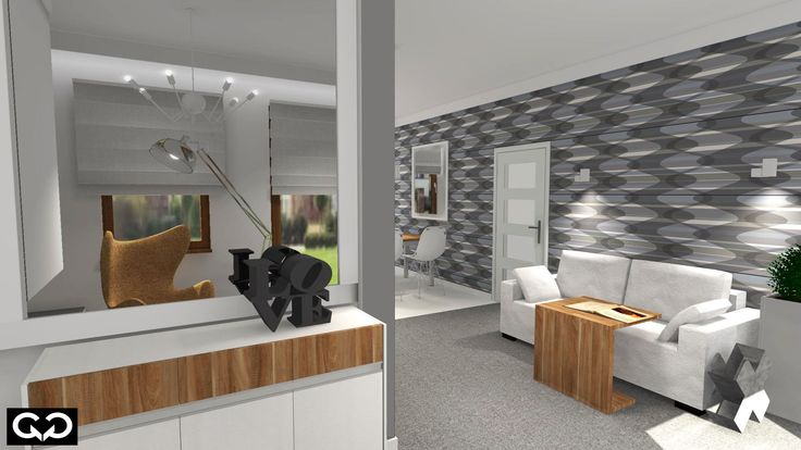 nowoczesny salon biel i drewno