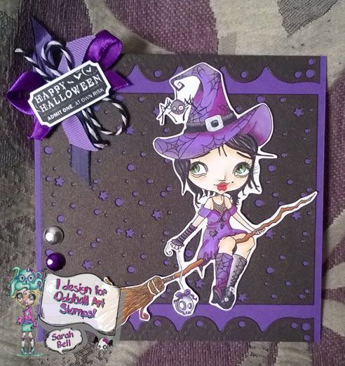 Designed by Sarah Bell - DT Card using Oddball Art Stamp - No 79 Tiffany the Terrible