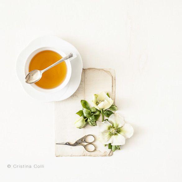 Limited Edition giclée print - Tea & flowers #7 © Cristina Colli Botanical print - floral photography - hellebores