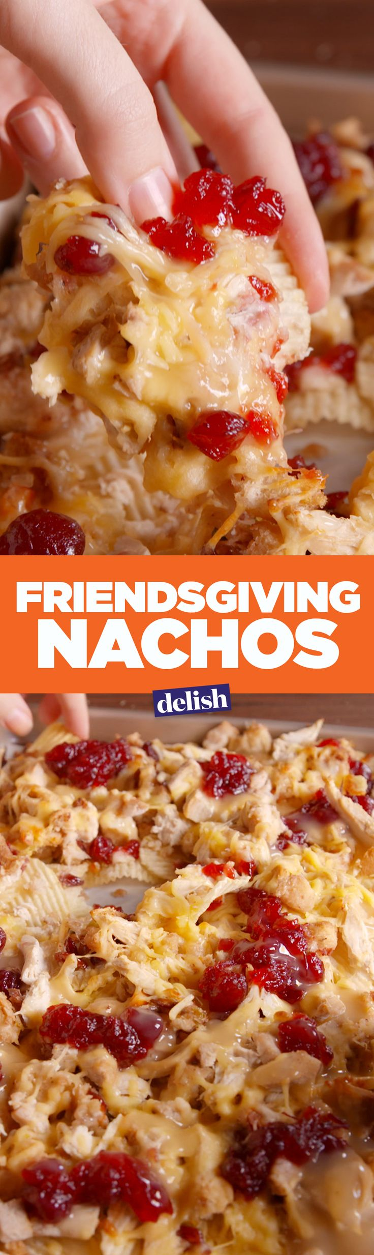 Friendsgiving nachos are the party version of Thanksgiving dinner. Get the recipe on Delish.com.