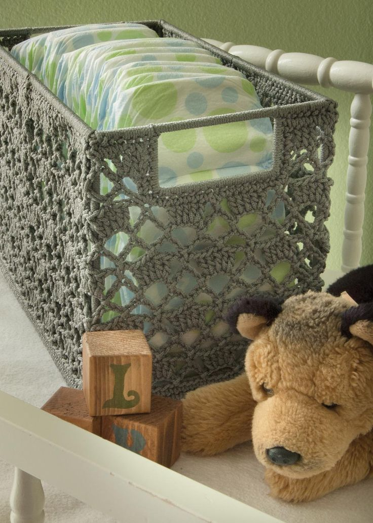Wire Frame Crochet Basket by Heritage Lace. Great for storing diapers or toys in the nursery!