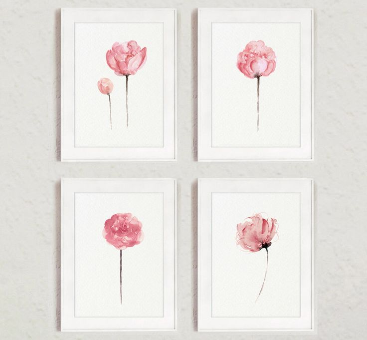 Peony Set 4 Baby Pink Watercolor Painting, Abstract Floral Minimalist Art Print, Shabby Chic Nursery – Aquarell