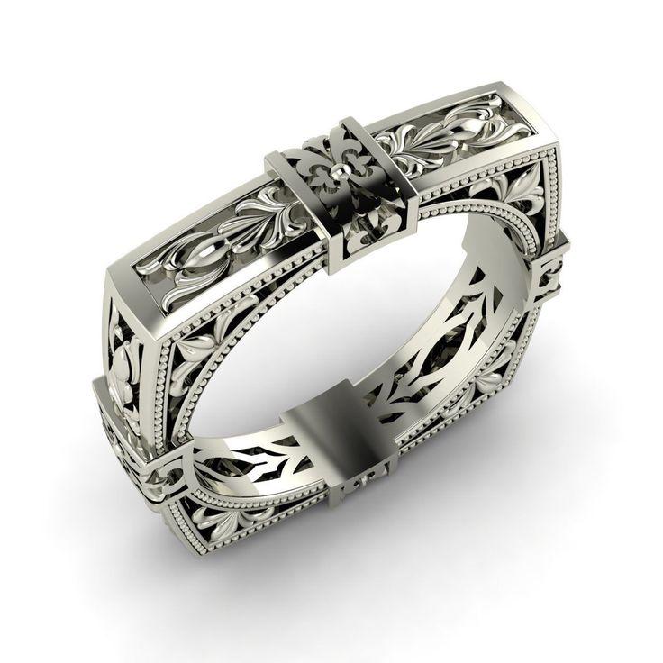 Lovely k white Gold Unique Square Shaped Enagagement Wedding Ring