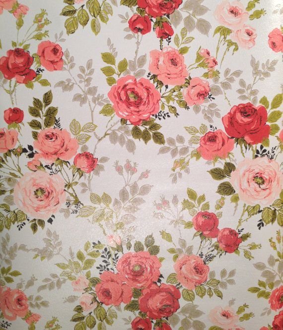 3 Rolls Vintage Soft Peach And Pink Floral Rose Painted