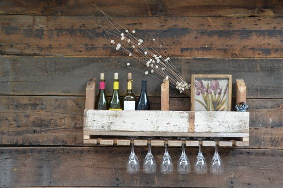Reclaimed Wood Wall Mount Wine & Glass Holder:  Nice Rack via Etsy