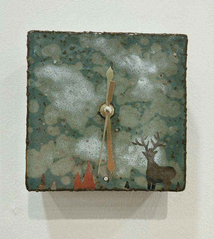 시계,사슴, 도자기, 인테리어소품