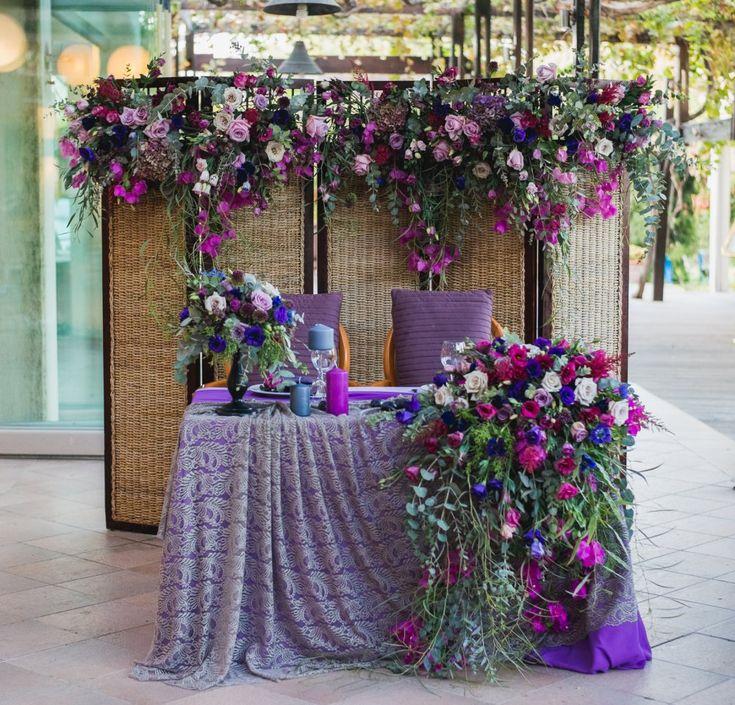 Оформление президиума в фиолетовом цвете