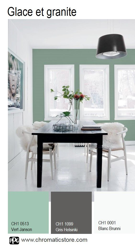 Une palette moderne et lumineuse qui donne instantanément beaucoup de personnalité à cette salle à manger. www.chromaticstore.com #deco #vert #granite