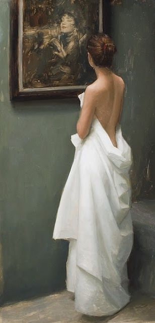 """Admiration"" - Aaron Westerberg (b. 1974), oil on canvas {contemporary figurative realism art female standing woman discreet posterior back painting} <3 aaronwesterberg.com"