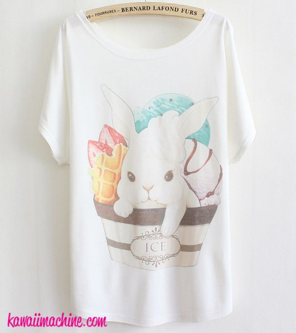 """A soft, flowing tee featuring a cute bunny inside a cup with scoops of ice cream.  Free sized.  Length:63.5CM/25"""" Bust:88CM/34.65"""" Hem:87CM/34.25"""" Waist:86CM/33.86"""" Shoulder:35CM/13.78"""""""