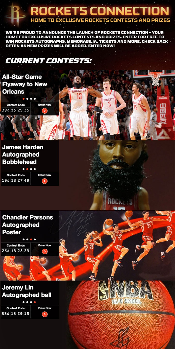 Enter to win rockets autographs prizes trips more on the newly launched