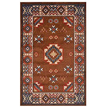 Nevita Collection Southwestern Native American Design Area Rug Rugs Geometric Tribal Brown 2 X 4