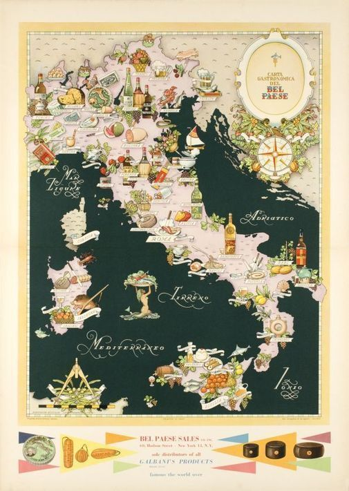 Carta Gastronomica del Bel Paese - Vintage Posters - Galerie 123 - The place to find vintage art