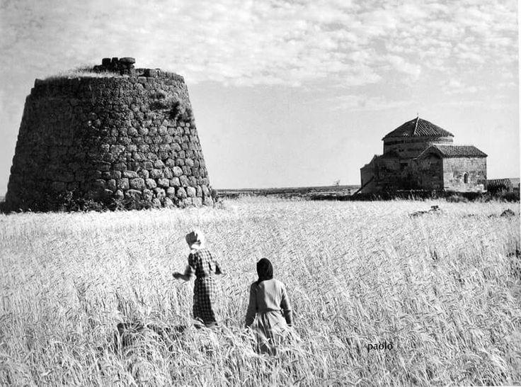 Paesaggio sardo : Il grano,le donne,la basilica ed il nuraghe.