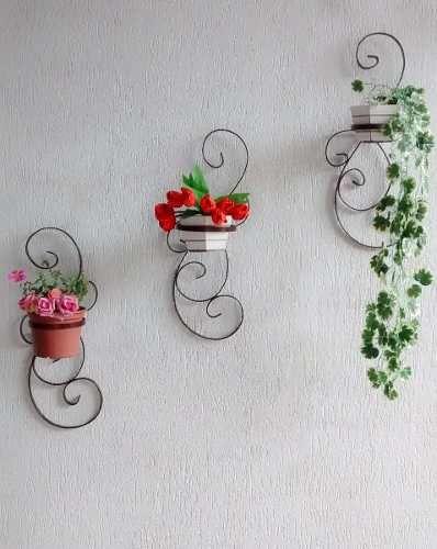 3 peças jardim vertical suporte em ferro para vasos/plantas