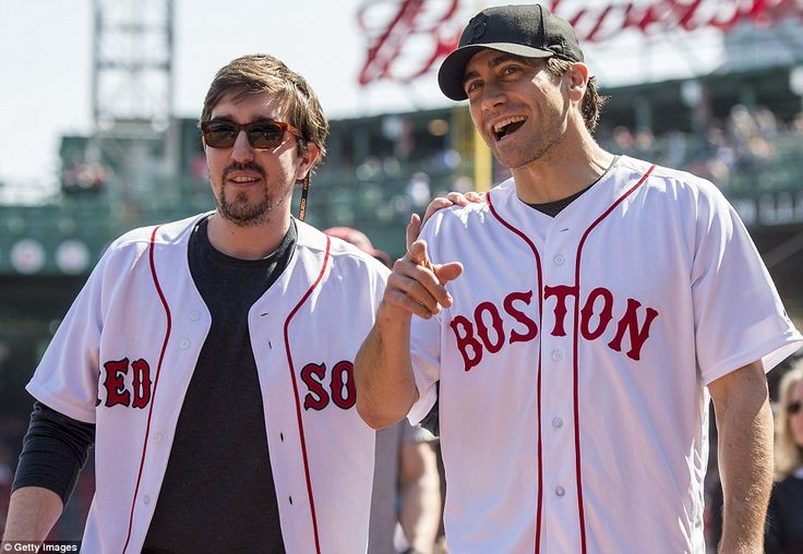 Jake Gyllenhaal and Boston Marathon bombing survivor Jeff Bauman threw out the first pitches at a Red Sox game today