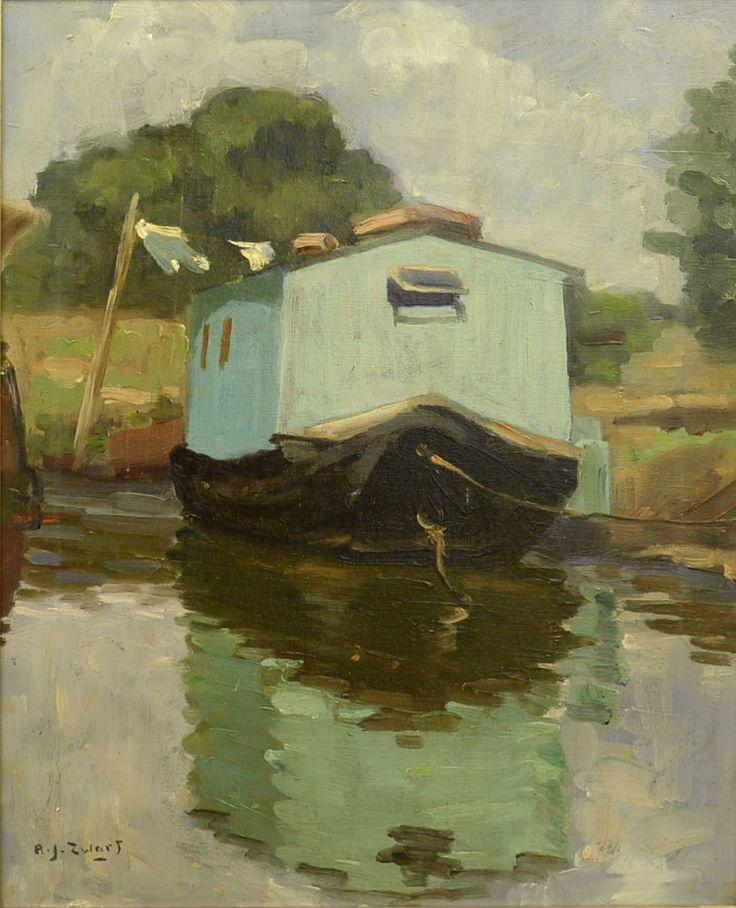 Adrianus Johannes ('Arie') Zwart (1903-1981) Titel: Woonboot 'De Trekschuit' - Artiquair