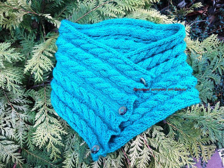 Купить Шарф - снуд вязаный - тёмно-зелёный, шарф вязаный, снуд вязаный, шарф женский