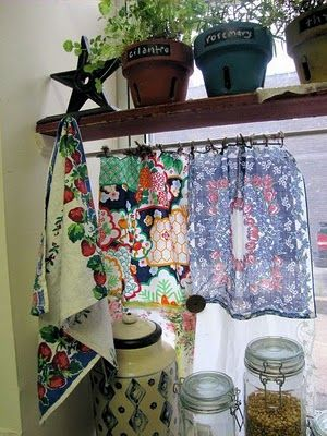 vintage handkerchief cafe curtains