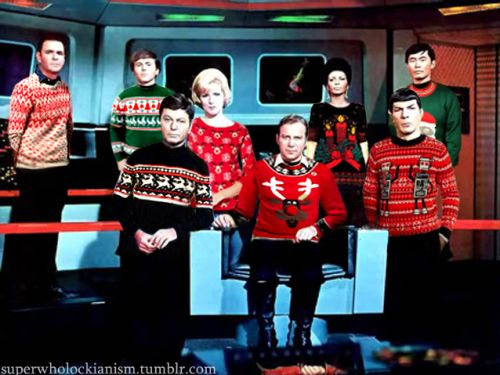 Star Trek Captain And Crew In Ugly Christmas Sweaters