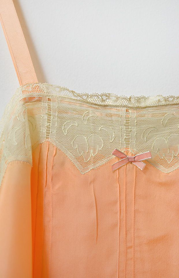 vintage 1930s peach step in lingerie with lace panels