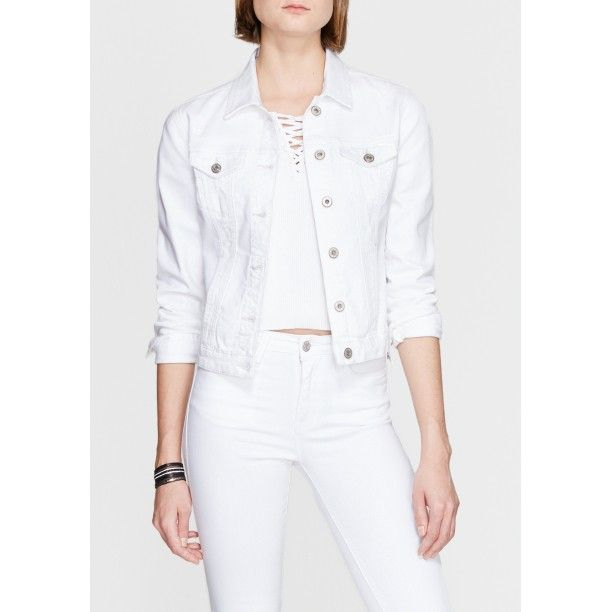 Mavi Daisy Vintage Beyaz Jean Ceket Jean Ceket Jean Mavi