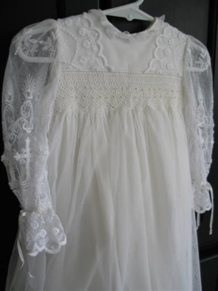 Christening gown of 80 year old liturgical lace