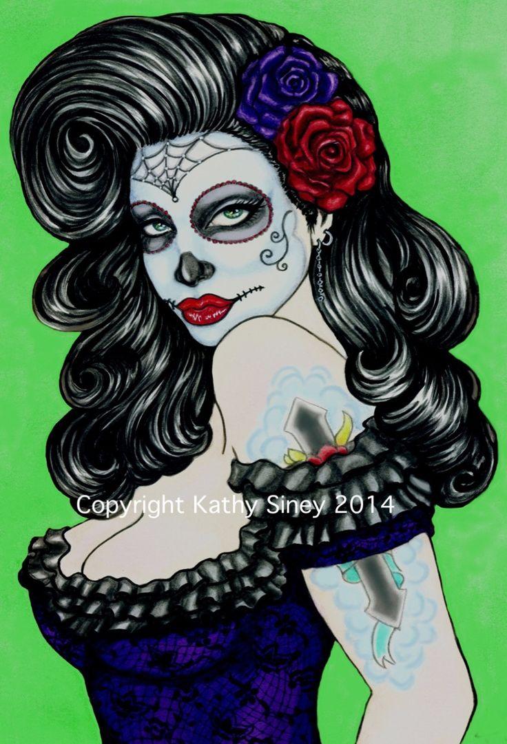 "Halloween artwork ""Bella Donna"" by Kathy Siney. Watercolour & ink. #sugarskull #rockabilly"