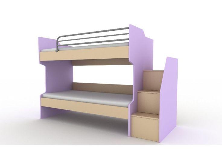 Κουκέτα ξύλινη 255x98x173εκ. με ξύλινη σκάλα με ντουλάπια IV03