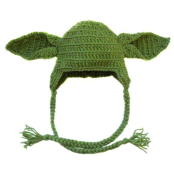 Touca de crochê no formato do mestre Yoda, personagem de Star Wars ...