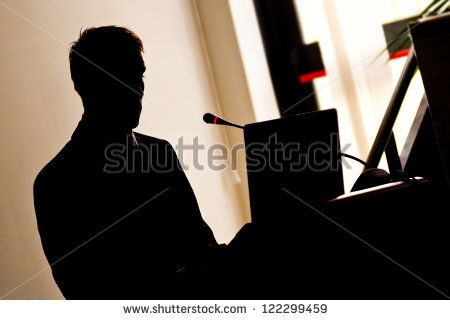Silhouette businessman during the presentation of of work