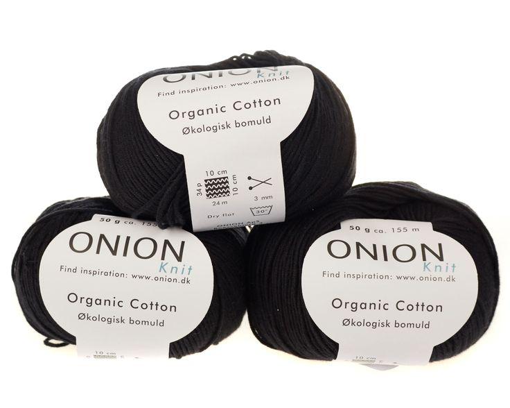Sort økologisk bomuldsgarn fra Onion - 35 kr. per 50 gram