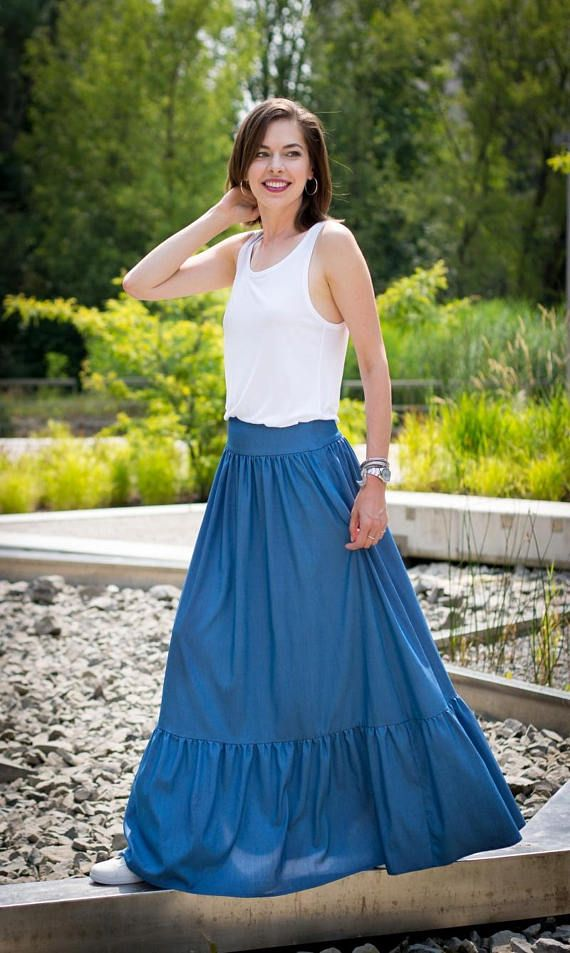 Maxi skirt, Maxi summer skirt, Long skirt, Denim skirt, Etno skirt, Boho skirt, Frill skirt, Frill